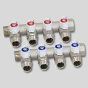 Коллектор никелированный с кранами Uni-Fitt НВ 1 х 1/2 НР 2 выхода