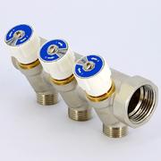 Коллектор с вентилями никелированный Uni-Fitt 1 НВ х 1/2 Н 4 выхода
