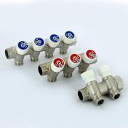 Коллектор с вентилями никелированный Uni-Fitt НВ 3/4 х 1/2 НР 3 выхода