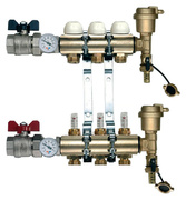 TIEMME 1 x 3/4 ЕК 2 выхода коллекторная группа с термостатическими вентилями и расходомерами TIEMME 1 x 3/4 ЕК 2 выхода