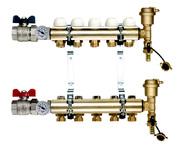 TIEMME 1 x 3/4 ЕК 3 выхода Коллекторная группа с регулировочными и термостатическими вентилями