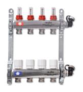 Коллекторная группа Uni-Fit 1 x 3/4 ЕК 4 выхода группа из нержавеющей стали с термостатическими вентилями и расходомерами